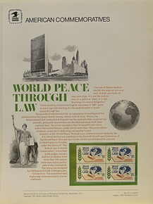 """PANEL # 54, U.S. COMMERATIVE PANEL WORLD PEACE THROUGH LAW, ISSUED 8/1/1975 SCOTT # 1576 PRINTED ON HEAVY PAPER MEASURING 8  1/2""""  X  11  1/4"""" WITH 4 WORLD PEACE THROUGH LAW, 10 CENT STAMPS PANELS ISSUED BY U.S. BUREAU OF ENGRAVING REPRESENT MANY HISTORICAL EVENTS IN OUR COUNTRY PLUS CULTURAL, WILDLIFE, FLORAL, MUSICAL, MOVIES AND COUNTLESS OTHER SUBJECTS, GREAT FOR  COLLECTORS AND ENTHUSIAST OF A WIDE VARIETY OF INTEREST. GREAT TO FRAME FOR GIFTS! UP TO A DOZEN CAN BE SHIPPED USING PRIORITY MAIL FLAT RATE ENVELOPE, FOR THE PRICE OF ONE (REFUND GIVEN (IF APPLICABLE) AFTER PANELS ARE SHIPPED TAKES 3-4 DAYS FOR REFUND TO REACH YOUR CARD) OR YOU CAN SEND ONE OR MORE, FIRST CLASS (NOT INSURED) FOR LESS, YOUR CHOICE."""
