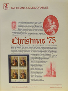 "PANEL # 59, U.S. COMMERATIVE PANEL CHRISTMAS, MADONNA '75, ISSUED 10/14/1975 SCOTT # 1579 PRINTED ON HEAVY PAPER MEASURING 8  1/2""  X  11  1/4"" WITH 4 CHRISTMAS, MADONNA '75, 10 CENT STAMPS PANELS ISSUED BY U.S. BUREAU OF ENGRAVING REPRESENT MANY HISTORICAL EVENTS IN OUR COUNTRY PLUS CULTURAL, WILDLIFE, FLORAL, MUSICAL, MOVIES AND COUNTLESS OTHER SUBJECTS, GREAT FOR  COLLECTORS AND ENTHUSIAST OF A WIDE VARIETY OF INTEREST.  GREAT TO FRAME FOR GIFTS! UP TO A DOZEN CAN BE SHIPPED USING PRIORITY MAIL FLAT RATE ENVELOPE, FOR THE PRICE OF ONE (REFUND GIVEN (IF APPLICABLE) AFTER PANELS ARE SHIPPED TAKES 3-4 DAYS FOR REFUND TO REACH YOUR CARD) OR YOU CAN SEND ONE OR MORE, FIRST CLASS (NOT INSURED) FOR LESS, YOUR CHOICE."
