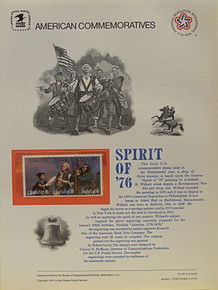 """PANEL # 60, U.S. COMMERATIVE PANEL SPIRIT OF 76 (THREE STAMP SET)  1/1/1976 SCOTT # 1631a PRINTED ON HEAVY PAPER MEASURING 8  1/2""""  X  11  1/4"""" WITH 3 SPIRIT OF 76 (THREE STAMP SET) , 13 CENT STAMPS PANELS ISSUED BY U.S. BUREAU OF ENGRAVING REPRESENT MANY HISTORICAL EVENTS IN OUR COUNTRY PLUS CULTURAL, WILDLIFE, FLORAL, MUSICAL, MOVIES AND COUNTLESS OTHER SUBJECTS, GREAT FOR  COLLECTORS AND ENTHUSIAST OF A WIDE VARIETY OF INTEREST. GREAT TO FRAME FOR GIFTS! UP TO A DOZEN CAN BE SHIPPED USING PRIORITY MAIL FLAT RATE ENVELOPE, FOR THE PRICE OF ONE (REFUND GIVEN (IF APPLICABLE) AFTER PANELS ARE SHIPPED TAKES 3-4 DAYS FOR REFUND TO REACH YOUR CARD) OR YOU CAN SEND ONE OR MORE, FIRST CLASS (NOT INSURED) FOR LESS, YOUR CHOICE."""