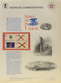 """PANEL # 62a, U.S. COMMERATIVE PANEL STATE FLAGS, ILLINOIS, ALABAMA, MICHIGAN, FLORIDA STAMPS ISSUED 2/23/1976  SCOTT #'S 1653, 1654, 1658, 1659 STAMPS.  PANEL PRINTED ON HEAVY PAPER MEASURING 8  1/2""""  X  11  1/4"""" WITH 4 STATE FLAG, 13 CENT STAMPS PANELS ISSUED BY U.S. BUREAU OF ENGRAVING REPRESENT MANY HISTORICAL EVENTS IN OUR COUNTRY PLUS CULTURAL, WILDLIFE, FLORAL, MUSICAL, MOVIES AND COUNTLESS OTHER SUBJECTS, GREAT FOR  COLLECTORS AND ENTHUSIAST OF A WIDE VARIETY OF INTEREST. GREAT TO FRAME FOR GIFTS! UP TO A DOZEN CAN BE SHIPPED USING PRIORITY MAIL FLAT RATE ENVELOPE, FOR THE PRICE OF ONE (REFUND GIVEN (IF APPLICABLE) AFTER PANELS ARE SHIPPED TAKES 3-4 DAYS FOR REFUND TO REACH YOUR CARD) OR YOU CAN SEND ONE OR MORE, FIRST CLASS (NOT INSURED) FOR LESS, YOUR CHOICE."""