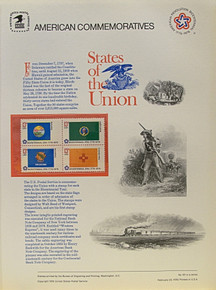 """PANEL # 62C U.S. COMMERATIVE PANEL STATE FLAGS,   MONTANA, WASHINGTON, OKLAHOMA, NEW MEXICO  STAMPS ISSUED 2/23/1976  SCOTT #'S 1673, 1674, 1678, 1679 STAMPS.  PANEL PRINTED ON HEAVY PAPER MEASURING 8  1/2""""  X  11  1/4"""" WITH 4 STATE FLAG, 13 CENT STAMPS PANELS ISSUED BY U.S. BUREAU OF ENGRAVING REPRESENT MANY HISTORICAL EVENTS IN OUR COUNTRY PLUS CULTURAL, WILDLIFE, FLORAL, MUSICAL, MOVIES AND COUNTLESS OTHER SUBJECTS, GREAT FOR  COLLECTORS AND ENTHUSIAST OF A WIDE VARIETY OF INTEREST. GREAT TO FRAME FOR GIFTS! UP TO A DOZEN CAN BE SHIPPED USING PRIORITY MAIL FLAT RATE ENVELOPE, FOR THE PRICE OF ONE (REFUND GIVEN (IF APPLICABLE) AFTER PANELS ARE SHIPPED TAKES 3-4 DAYS FOR REFUND TO REACH YOUR CARD) OR YOU CAN SEND ONE OR MORE, FIRST CLASS (NOT INSURED) FOR LESS, YOUR CHOICE."""