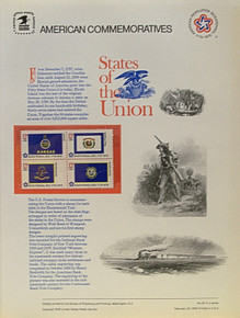 """PANEL # 62D U.S. COMMERATIVE PANEL STATE FLAGS,   KANSAS, WEST VIRGINIA, NORTH DAKOTA, SOUTH DAKOTA  STAMPS ISSUED 2/23/1976  SCOTT #'S 1666, 1667, 1671, 1672 STAMPS.  PANEL PRINTED ON HEAVY PAPER MEASURING 8  1/2""""  X  11  1/4"""" WITH 4 STATE FLAG, 13 CENT STAMPS PANELS ISSUED BY U.S. BUREAU OF ENGRAVING REPRESENT MANY HISTORICAL EVENTS IN OUR COUNTRY PLUS CULTURAL, WILDLIFE, FLORAL, MUSICAL, MOVIES AND COUNTLESS OTHER SUBJECTS, GREAT FOR  COLLECTORS AND ENTHUSIAST OF A WIDE VARIETY OF INTEREST. GREAT TO FRAME FOR GIFTS! UP TO A DOZEN CAN BE SHIPPED USING PRIORITY MAIL FLAT RATE ENVELOPE, FOR THE PRICE OF ONE (REFUND GIVEN (IF APPLICABLE) AFTER PANELS ARE SHIPPED TAKES 3-4 DAYS FOR REFUND TO REACH YOUR CARD) OR YOU CAN SEND ONE OR MORE, FIRST CLASS (NOT INSURED) FOR LESS, YOUR CHOICE."""