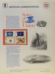 """PANEL # 62E U.S. COMMERATIVE PANEL STATE FLAGS,   DELAWARE,  PENNSYLVANIA, MASSACHUSETTS, MARYLAND  STAMPS ISSUED 2/23/1976  SCOTT #'S 1633, 1634, 1638, 1639 STAMPS.  PANEL PRINTED ON HEAVY PAPER MEASURING 8  1/2""""  X  11  1/4"""" WITH 4 STATE FLAG, 13 CENT STAMPS PANELS ISSUED BY U.S. BUREAU OF ENGRAVING REPRESENT MANY HISTORICAL EVENTS IN OUR COUNTRY PLUS CULTURAL, WILDLIFE, FLORAL, MUSICAL, MOVIES AND COUNTLESS OTHER SUBJECTS, GREAT FOR  COLLECTORS AND ENTHUSIAST OF A WIDE VARIETY OF INTEREST. GREAT TO FRAME FOR GIFTS! UP TO A DOZEN CAN BE SHIPPED USING PRIORITY MAIL FLAT RATE ENVELOPE, FOR THE PRICE OF ONE (REFUND GIVEN (IF APPLICABLE) AFTER PANELS ARE SHIPPED TAKES 3-4 DAYS FOR REFUND TO REACH YOUR CARD) OR YOU CAN SEND ONE OR MORE, FIRST CLASS (NOT INSURED) FOR LESS, YOUR CHOICE."""