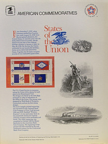"""PANEL # 62F U.S. COMMERATIVE PANEL STATE FLAGS,  MISSOURI, ARKANSAS, IOWA, WISCONSIN STAMPS ISSUED 2/23/1976  SCOTT #'S 1656, 1657, 1661, 1662 STAMPS.  PANEL PRINTED ON HEAVY PAPER MEASURING 8  1/2""""  X  11  1/4"""" WITH 4 STATE FLAG, 13 CENT STAMPS PANELS ISSUED BY U.S. BUREAU OF ENGRAVING REPRESENT MANY HISTORICAL EVENTS IN OUR COUNTRY PLUS CULTURAL, WILDLIFE, FLORAL, MUSICAL, MOVIES AND COUNTLESS OTHER SUBJECTS, GREAT FOR  COLLECTORS AND ENTHUSIAST OF A WIDE VARIETY OF INTEREST. GREAT TO FRAME FOR GIFTS! UP TO A DOZEN CAN BE SHIPPED USING PRIORITY MAIL FLAT RATE ENVELOPE, FOR THE PRICE OF ONE (REFUND GIVEN (IF APPLICABLE) AFTER PANELS ARE SHIPPED TAKES 3-4 DAYS FOR REFUND TO REACH YOUR CARD) OR YOU CAN SEND ONE OR MORE, FIRST CLASS (NOT INSURED) FOR LESS, YOUR CHOICE."""
