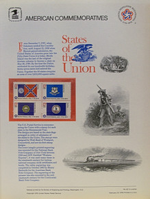 """PANEL # 62G U.S. COMMERATIVE PANEL STATE FLAGS,  GEORGIA, CONNECTICUT, NEW HAMPSHIRE, VIRGINIA STAMPS ISSUED 2/23/1976  SCOTT #'S 1636, 1637, 1641, 1642 STAMPS.  PANEL PRINTED ON HEAVY PAPER MEASURING 8  1/2""""  X  11  1/4"""" WITH 4 STATE FLAG, 13 CENT STAMPS PANELS ISSUED BY U.S. BUREAU OF ENGRAVING REPRESENT MANY HISTORICAL EVENTS IN OUR COUNTRY PLUS CULTURAL, WILDLIFE, FLORAL, MUSICAL, MOVIES AND COUNTLESS OTHER SUBJECTS, GREAT FOR  COLLECTORS AND ENTHUSIAST OF A WIDE VARIETY OF INTEREST. GREAT TO FRAME FOR GIFTS! UP TO A DOZEN CAN BE SHIPPED USING PRIORITY MAIL FLAT RATE ENVELOPE, FOR THE PRICE OF ONE (REFUND GIVEN (IF APPLICABLE) AFTER PANELS ARE SHIPPED TAKES 3-4 DAYS FOR REFUND TO REACH YOUR CARD) OR YOU CAN SEND ONE OR MORE, FIRST CLASS (NOT INSURED) FOR LESS, YOUR CHOICE."""