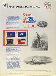 """PANEL # 62H U.S. COMMERATIVE PANEL STATE FLAGS,  GEORGIA, CONNECTICUT, NEW HAMPSHIRE, VIRGINIA STAMPS ISSUED 2/23/1976  SCOTT #'S 1636, 1637, 1641, 1642 STAMPS.  PANEL PRINTED ON HEAVY PAPER MEASURING 8  1/2""""  X  11  1/4"""" WITH 4 STATE FLAG, 13 CENT STAMPS PANELS ISSUED BY U.S. BUREAU OF ENGRAVING REPRESENT MANY HISTORICAL EVENTS IN OUR COUNTRY PLUS CULTURAL, WILDLIFE, FLORAL, MUSICAL, MOVIES AND COUNTLESS OTHER SUBJECTS, GREAT FOR  COLLECTORS AND ENTHUSIAST OF A WIDE VARIETY OF INTEREST. GREAT TO FRAME FOR GIFTS! UP TO A DOZEN CAN BE SHIPPED USING PRIORITY MAIL FLAT RATE ENVELOPE, FOR THE PRICE OF ONE (REFUND GIVEN (IF APPLICABLE) AFTER PANELS ARE SHIPPED TAKES 3-4 DAYS FOR REFUND TO REACH YOUR CARD) OR YOU CAN SEND ONE OR MORE, FIRST CLASS (NOT INSURED) FOR LESS, YOUR CHOICE."""