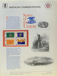 """PANEL # 62J U.S. COMMERATIVE PANEL STATE FLAGS,  WASHINGTON, IDAHO, NEW MEXICO, ARIZONA STAMPS ISSUED 2/23/1976  SCOTT #'S 1674, 1675, 1679, 1680 STAMPS.  PANEL PRINTED ON HEAVY PAPER MEASURING 8  1/2""""  X  11  1/4"""" WITH 4 STATE FLAG, 13 CENT STAMPS PANELS ISSUED BY U.S. BUREAU OF ENGRAVING REPRESENT MANY HISTORICAL EVENTS IN OUR COUNTRY PLUS CULTURAL, WILDLIFE, FLORAL, MUSICAL, MOVIES AND COUNTLESS OTHER SUBJECTS, GREAT FOR  COLLECTORS AND ENTHUSIAST OF A WIDE VARIETY OF INTEREST. GREAT TO FRAME FOR GIFTS! UP TO A DOZEN CAN BE SHIPPED USING PRIORITY MAIL FLAT RATE ENVELOPE, FOR THE PRICE OF ONE (REFUND GIVEN (IF APPLICABLE) AFTER PANELS ARE SHIPPED TAKES 3-4 DAYS FOR REFUND TO REACH YOUR CARD) OR YOU CAN SEND ONE OR MORE, FIRST CLASS (NOT INSURED) FOR LESS, YOUR CHOICE."""