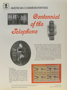 """PANEL # 63 U.S. COMMERATIVE PANEL TELEPHONE CENTENARY ISSUED 3/10/1976 SCOTT #1683 STAMPS.  PANEL PRINTED ON HEAVY PAPER MEASURING 8  1/2""""  X  11  1/4"""" WITH 4 TELEPHONE CENTENARY, 13 CENT STAMPS PANELS ISSUED BY U.S. BUREAU OF ENGRAVING REPRESENT MANY HISTORICAL EVENTS IN OUR COUNTRY PLUS CULTURAL, WILDLIFE, FLORAL, MUSICAL, MOVIES AND COUNTLESS OTHER SUBJECTS, GREAT FOR  COLLECTORS AND ENTHUSIAST OF A WIDE VARIETY OF INTEREST. GREAT TO FRAME FOR GIFTS! UP TO A DOZEN CAN BE SHIPPED USING PRIORITY MAIL FLAT RATE ENVELOPE, FOR THE PRICE OF ONE (REFUND GIVEN (IF APPLICABLE) AFTER PANELS ARE SHIPPED TAKES 3-4 DAYS FOR REFUND TO REACH YOUR CARD) OR YOU CAN SEND ONE OR MORE, FIRST CLASS (NOT INSURED) FOR LESS, YOUR CHOICE."""