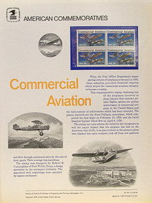 """PANEL # 64 U.S. COMMERATIVE PANEL COMMERCIAL AVIATION ISSUED 3/19/1976 SCOTT #1684 STAMPS. PANEL PRINTED ON HEAVY PAPER MEASURING 8 1/2"""" X 11 1/4"""" WITH 4 COMMERCIAL AVIATION, 13 CENT STAMPS PANELS ISSUED BY U.S. BUREAU OF ENGRAVING REPRESENT MANY HISTORICAL EVENTS IN OUR COUNTRY PLUS CULTURAL, WILDLIFE, FLORAL, MUSICAL, MOVIES AND COUNTLESS OTHER SUBJECTS, GREAT FOR COLLECTORS AND ENTHUSIAST OF A WIDE VARIETY OF INTEREST. GREAT TO FRAME FOR GIFTS! UP TO A DOZEN CAN BE SHIPPED USING PRIORITY MAIL FLAT RATE ENVELOPE, FOR THE PRICE OF ONE (REFUND GIVEN (IF APPLICABLE) AFTER PANELS ARE SHIPPED TAKES 3-4 DAYS FOR REFUND TO REACH YOUR CARD) OR YOU CAN SEND ONE OR MORE, FIRST CLASS (NOT INSURED) FOR LESS, YOUR CHOICE."""