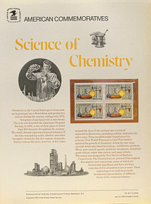 """PANEL # 65 U.S. COMMERATIVE PANEL CHEMISTRY  ISSUED 4/6/1976 SCOTT #1685 STAMPS. PANEL PRINTED ON HEAVY PAPER MEASURING 8 1/2"""" X 11 1/4"""" WITH 4 CHEMISTRY, 13 CENT STAMPS PANELS ISSUED BY U.S. BUREAU OF ENGRAVING REPRESENT MANY HISTORICAL EVENTS IN OUR COUNTRY PLUS CULTURAL, WILDLIFE, FLORAL, MUSICAL, MOVIES AND COUNTLESS OTHER SUBJECTS, GREAT FOR COLLECTORS AND ENTHUSIAST OF A WIDE VARIETY OF INTEREST. GREAT TO FRAME FOR GIFTS! UP TO A DOZEN CAN BE SHIPPED USING PRIORITY MAIL FLAT RATE ENVELOPE, FOR THE PRICE OF ONE (REFUND GIVEN (IF APPLICABLE) AFTER PANELS ARE SHIPPED TAKES 3-4 DAYS FOR REFUND TO REACH YOUR CARD) OR YOU CAN SEND ONE OR MORE, FIRST CLASS (NOT INSURED) FOR LESS, YOUR CHOICE."""