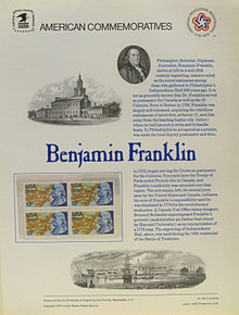 """PANEL # 66 U.S. COMMERATIVE PANEL BENJAMIN FRANKLIN  ISSUED 6/1/1976 SCOTT #1690 STAMPS. PANEL PRINTED ON HEAVY PAPER MEASURING 8 1/2"""" X 11 1/4"""" WITH 4 BENJAMIN FRANKLIN, 13 CENT STAMPS PANELS ISSUED BY U.S. BUREAU OF ENGRAVING REPRESENT MANY HISTORICAL EVENTS IN OUR COUNTRY PLUS CULTURAL, WILDLIFE, FLORAL, MUSICAL, MOVIES AND COUNTLESS OTHER SUBJECTS, GREAT FOR COLLECTORS AND ENTHUSIAST OF A WIDE VARIETY OF INTEREST. GREAT TO FRAME FOR GIFTS! UP TO A DOZEN CAN BE SHIPPED USING PRIORITY MAIL FLAT RATE ENVELOPE, FOR THE PRICE OF ONE (REFUND GIVEN (IF APPLICABLE) AFTER PANELS ARE SHIPPED TAKES 3-4 DAYS FOR REFUND TO REACH YOUR CARD) OR YOU CAN SEND ONE OR MORE, FIRST CLASS (NOT INSURED) FOR LESS, YOUR CHOICE."""