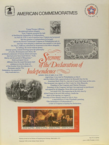 """PANEL # 67 U.S. COMMERATIVE PANEL DECLARATION OF INDEPENDENCE SIGNING  ISSUED 7/4/1976 SCOTT #1694a STAMPS. PANEL PRINTED ON HEAVY PAPER MEASURING 8 1/2"""" X 11 1/4"""" WITH 4 DECLARATION OF INDEPENDENCE SIGNING, 13 CENT STAMPS PANELS ISSUED BY U.S. BUREAU OF ENGRAVING REPRESENT MANY HISTORICAL EVENTS IN OUR COUNTRY PLUS CULTURAL, WILDLIFE, FLORAL, MUSICAL, MOVIES AND COUNTLESS OTHER SUBJECTS, GREAT FOR COLLECTORS AND ENTHUSIAST OF A WIDE VARIETY OF INTEREST. GREAT TO FRAME FOR GIFTS! UP TO A DOZEN CAN BE SHIPPED USING PRIORITY MAIL FLAT RATE ENVELOPE, FOR THE PRICE OF ONE (REFUND GIVEN (IF APPLICABLE) AFTER PANELS ARE SHIPPED TAKES 3-4 DAYS FOR REFUND TO REACH YOUR CARD) OR YOU CAN SEND ONE OR MORE, FIRST CLASS (NOT INSURED) FOR LESS, YOUR CHOICE."""