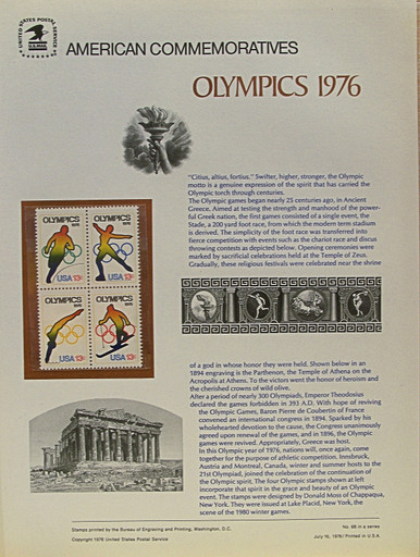 """PANEL # 68 U.S. COMMERATIVE PANEL 12TH WINTER OLYMPICS  ISSUED 7/16/1976 SCOTT #1698a STAMPS. PANEL PRINTED ON HEAVY PAPER MEASURING 8 1/2"""" X 11 1/4"""" WITH 4 12TH WINTER OLYMPICS, 13 CENT STAMPS PANELS ISSUED BY U.S. BUREAU OF ENGRAVING REPRESENT MANY HISTORICAL EVENTS IN OUR COUNTRY PLUS CULTURAL, WILDLIFE, FLORAL, MUSICAL, MOVIES AND COUNTLESS OTHER SUBJECTS, GREAT FOR COLLECTORS AND ENTHUSIAST OF A WIDE VARIETY OF INTEREST. GREAT TO FRAME FOR GIFTS! UP TO A DOZEN CAN BE SHIPPED USING PRIORITY MAIL FLAT RATE ENVELOPE, FOR THE PRICE OF ONE (REFUND GIVEN (IF APPLICABLE) AFTER PANELS ARE SHIPPED TAKES 3-4 DAYS FOR REFUND TO REACH YOUR CARD) OR YOU CAN SEND ONE OR MORE, FIRST CLASS (NOT INSURED) FOR LESS, YOUR CHOICE."""