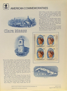 """PANEL # 69 U.S. COMMERATIVE PANEL CLARA MAASS ISSUED 8/18/1976 SCOTT #1699 STAMPS. PANEL PRINTED ON HEAVY PAPER MEASURING 8 1/2"""" X 11 1/4"""" WITH 4 CLARA MAASS, 13 CENT STAMPS PANELS ISSUED BY U.S. BUREAU OF ENGRAVING REPRESENT MANY HISTORICAL EVENTS IN OUR COUNTRY PLUS CULTURAL, WILDLIFE, FLORAL, MUSICAL, MOVIES AND COUNTLESS OTHER SUBJECTS, GREAT FOR COLLECTORS AND ENTHUSIAST OF A WIDE VARIETY OF INTEREST. GREAT TO FRAME FOR GIFTS! UP TO A DOZEN CAN BE SHIPPED USING PRIORITY MAIL FLAT RATE ENVELOPE, FOR THE PRICE OF ONE (REFUND GIVEN (IF APPLICABLE) AFTER PANELS ARE SHIPPED TAKES 3-4 DAYS FOR REFUND TO REACH YOUR CARD) OR YOU CAN SEND ONE OR MORE, FIRST CLASS (NOT INSURED) FOR LESS, YOUR CHOICE."""