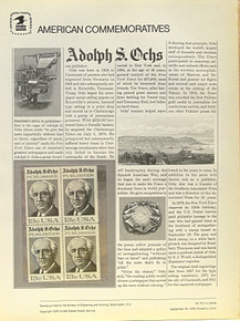 """PANEL # 70 U.S. COMMERATIVE PANEL ALDOLPH S. OCHS  ISSUED 9/18/1976 SCOTT #1700 STAMPS. PANEL PRINTED ON HEAVY PAPER MEASURING 8 1/2"""" X 11 1/4"""" WITH 4 ALDOLPH S. OCHS , 13 CENT STAMPS PANELS ISSUED BY U.S. BUREAU OF ENGRAVING REPRESENT MANY HISTORICAL EVENTS IN OUR COUNTRY PLUS CULTURAL, WILDLIFE, FLORAL, MUSICAL, MOVIES AND COUNTLESS OTHER SUBJECTS, GREAT FOR COLLECTORS AND ENTHUSIAST OF A WIDE VARIETY OF INTEREST. GREAT TO FRAME FOR GIFTS! UP TO A DOZEN CAN BE SHIPPED USING PRIORITY MAIL FLAT RATE ENVELOPE, FOR THE PRICE OF ONE (REFUND GIVEN (IF APPLICABLE) AFTER PANELS ARE SHIPPED TAKES 3-4 DAYS FOR REFUND TO REACH YOUR CARD) OR YOU CAN SEND ONE OR MORE, FIRST CLASS (NOT INSURED) FOR LESS, YOUR CHOICE."""