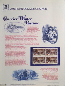 """PANEL # 71 U.S. COMMERATIVE PANEL CHRISTMAS WINTER PASTIME ISSUED 9/18/1976 SCOTT #1700 STAMPS. PANEL PRINTED ON HEAVY PAPER MEASURING 8 1/2"""" X 11 1/4"""" WITH 4 CHRISTMAS WINTER PASTIME, 13 CENT STAMPS PANELS ISSUED BY U.S. BUREAU OF ENGRAVING REPRESENT MANY HISTORICAL EVENTS IN OUR COUNTRY PLUS CULTURAL, WILDLIFE, FLORAL, MUSICAL, MOVIES AND COUNTLESS OTHER SUBJECTS, GREAT FOR COLLECTORS AND ENTHUSIAST OF A WIDE VARIETY OF INTEREST. GREAT TO FRAME FOR GIFTS! UP TO A DOZEN CAN BE SHIPPED USING PRIORITY MAIL FLAT RATE ENVELOPE, FOR THE PRICE OF ONE (REFUND GIVEN (IF APPLICABLE) AFTER PANELS ARE SHIPPED TAKES 3-4 DAYS FOR REFUND TO REACH YOUR CARD) OR YOU CAN SEND ONE OR MORE, FIRST CLASS (NOT INSURED) FOR LESS, YOUR CHOICE."""