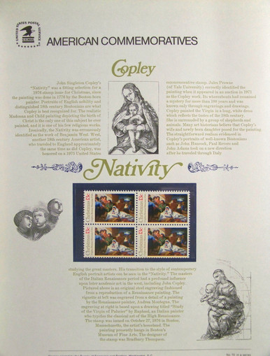 """PANEL # 72 U.S. COMMERATIVE PANELCHRISTMAS NATIVITY SCENE, ISSUED 10/27/1976 SCOTT #1701 STAMPS. PANEL PRINTED ON HEAVY PAPER MEASURING 8 1/2"""" X 11 1/4"""" WITH 4 CHRISTMAS NATIVITY SCENE, 13 CENT STAMPS PANELS ISSUED BY U.S. BUREAU OF ENGRAVING REPRESENT MANY HISTORICAL EVENTS IN OUR COUNTRY PLUS CULTURAL, WILDLIFE, FLORAL, MUSICAL, MOVIES AND COUNTLESS OTHER SUBJECTS, GREAT FOR COLLECTORS AND ENTHUSIAST OF A WIDE VARIETY OF INTEREST. GREAT TO FRAME FOR GIFTS! UP TO A DOZEN CAN BE SHIPPED USING PRIORITY MAIL FLAT RATE ENVELOPE, FOR THE PRICE OF ONE (REFUND GIVEN (IF APPLICABLE) AFTER PANELS ARE SHIPPED TAKES 3-4 DAYS FOR REFUND TO REACH YOUR CARD) OR YOU CAN SEND ONE OR MORE, FIRST CLASS (NOT INSURED) FOR LESS, YOUR CHOICE."""