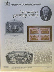 """PANEL # 74 U.S. COMMERATIVE PANEL CENTENNIAL OF SOUND RECORDING, ISSUED 3/23/1977 SCOTT #1705 STAMPS. PANEL PRINTED ON HEAVY PAPER MEASURING 8 1/2"""" X 11 1/4"""" WITH 4, CENTENNIAL OF SOUND RECORDING, 13 CENT STAMPS PANELS ISSUED BY U.S. BUREAU OF ENGRAVING REPRESENT MANY HISTORICAL EVENTS IN OUR COUNTRY PLUS CULTURAL, WILDLIFE, FLORAL, MUSICAL, MOVIES AND COUNTLESS OTHER SUBJECTS, GREAT FOR COLLECTORS AND ENTHUSIAST OF A WIDE VARIETY OF INTEREST. GREAT TO FRAME FOR GIFTS! UP TO A DOZEN CAN BE SHIPPED USING PRIORITY MAIL FLAT RATE ENVELOPE, FOR THE PRICE OF ONE (REFUND GIVEN (IF APPLICABLE) AFTER PANELS ARE SHIPPED TAKES 3-4 DAYS FOR REFUND TO REACH YOUR CARD) OR YOU CAN SEND ONE OR MORE, FIRST CLASS (NOT INSURED) FOR LESS, YOUR CHOICE."""