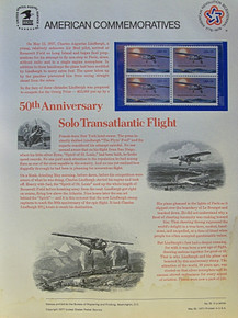 """PANEL # 76 U.S. COMMERATIVE PANEL 50TH ANNIVERSARY OF SOLO TRANSATLANTIC FLIGHT, ISSUED 5/20/1977 SCOTT #1710 STAMPS. PANEL PRINTED ON HEAVY PAPER MEASURING 8 1/2"""" X 11 1/4"""" WITH 4, 50TH ANNIVERSARY OF SOLO TRANSATLANTIC FLIGHT, 13 CENT STAMPS PANELS ISSUED BY U.S. BUREAU OF ENGRAVING REPRESENT MANY HISTORICAL EVENTS IN OUR COUNTRY PLUS CULTURAL, WILDLIFE, FLORAL, MUSICAL, MOVIES AND COUNTLESS OTHER SUBJECTS, GREAT FOR COLLECTORS AND ENTHUSIAST OF A WIDE VARIETY OF INTEREST. GREAT TO FRAME FOR GIFTS! UP TO A DOZEN CAN BE SHIPPED USING PRIORITY MAIL FLAT RATE ENVELOPE, FOR THE PRICE OF ONE (REFUND GIVEN (IF APPLICABLE) AFTER PANELS ARE SHIPPED TAKES 3-4 DAYS FOR REFUND TO REACH YOUR CARD) OR YOU CAN SEND ONE OR MORE, FIRST CLASS (NOT INSURED) FOR LESS, YOUR CHOICE."""
