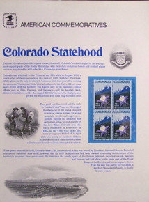 "PANEL #77 U.S. COMMEMORATIVE PANEL COLORADO STATEHOOD, ISSUED 5/21/1977 SCOTT #1711 STAMPS. PANEL PRINTED ON HEAVY PAPER MEASURING 8 1/2"" X 11 1/4"" WITH 4, COLORADO STATEHOOD, 13 CENT STAMPS PANELS ISSUED BY U.S. BUREAU OF ENGRAVING REPRESENT MANY HISTORICAL EVENTS IN OUR COUNTRY PLUS CULTURAL, WILDLIFE, FLORAL, MUSICAL, MOVIES AND COUNTLESS OTHER SUBJECTS, GREAT FOR COLLECTORS AND ENTHUSIAST OF A WIDE VARIETY OF INTEREST. GREAT TO FRAME FOR GIFTS! UP TO A DOZEN CAN BE SHIPPED USING PRIORITY MAIL FLAT RATE ENVELOPE, FOR THE PRICE OF ONE (REFUND GIVEN (IF APPLICABLE) AFTER PANELS ARE SHIPPED TAKES 3-4 DAYS FOR REFUND TO REACH YOUR CARD) OR YOU CAN SEND ONE OR MORE, FIRST CLASS (NOT INSURED) FOR LESS, YOUR CHOICE."