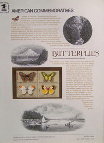 """PANEL #78 U.S. COMMEMORATIVE PANEL BUTTERFLIES, ISSUED 6/6/1977 SCOTT #1715a STAMPS. PANEL PRINTED ON HEAVY PAPER MEASURING 8 1/2"""" X 11 1/4"""" WITH 4, BUTTERFLIES, 13 CENT STAMPS PANELS ISSUED BY U.S. BUREAU OF ENGRAVING REPRESENT MANY HISTORICAL EVENTS IN OUR COUNTRY PLUS CULTURAL, WILDLIFE, FLORAL, MUSICAL, MOVIES AND COUNTLESS OTHER SUBJECTS, GREAT FOR COLLECTORS AND ENTHUSIAST OF A WIDE VARIETY OF INTEREST. GREAT TO FRAME FOR GIFTS! UP TO A DOZEN CAN BE SHIPPED USING PRIORITY MAIL FLAT RATE ENVELOPE, FOR THE PRICE OF ONE (REFUND GIVEN (IF APPLICABLE) AFTER PANELS ARE SHIPPED TAKES 3-4 DAYS FOR REFUND TO REACH YOUR CARD) OR YOU CAN SEND ONE OR MORE, FIRST CLASS (NOT INSURED) FOR LESS, YOUR CHOICE."""