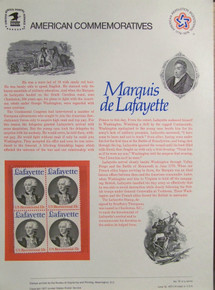 """PANEL #79 U.S. COMMEMORATIVE PANEL LAFAYETTE , ISSUED 6/131977 SCOTT #1716 STAMPS. PANEL PRINTED ON HEAVY PAPER MEASURING 8 1/2"""" X 11 1/4"""" WITH 4, LAFAYETTE, 13 CENT STAMPS PANELS ISSUED BY U.S. BUREAU OF ENGRAVING REPRESENT MANY HISTORICAL EVENTS IN OUR COUNTRY PLUS CULTURAL, WILDLIFE, FLORAL, MUSICAL, MOVIES AND COUNTLESS OTHER SUBJECTS, GREAT FOR COLLECTORS AND ENTHUSIAST OF A WIDE VARIETY OF INTEREST. GREAT TO FRAME FOR GIFTS! UP TO A DOZEN CAN BE SHIPPED USING PRIORITY MAIL FLAT RATE ENVELOPE, FOR THE PRICE OF ONE (REFUND GIVEN (IF APPLICABLE) AFTER PANELS ARE SHIPPED TAKES 3-4 DAYS FOR REFUND TO REACH YOUR CARD) OR YOU CAN SEND ONE OR MORE, FIRST CLASS (NOT INSURED) FOR LESS, YOUR CHOICE."""