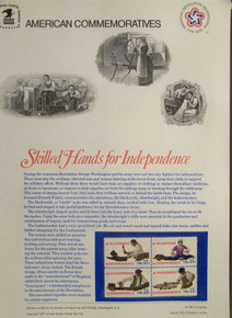 """PANEL #80 U.S. COMMEMORATIVE PANEL SKILLED HANDS, ISSUED 7/41977 SCOTT #1720a STAMPS. PANEL PRINTED ON HEAVY PAPER MEASURING 8 1/2"""" X 11 1/4"""" WITH 4, SKILLED HANDS, 13 CENT STAMPS PANELS ISSUED BY U.S. BUREAU OF ENGRAVING REPRESENT MANY HISTORICAL EVENTS IN OUR COUNTRY PLUS CULTURAL, WILDLIFE, FLORAL, MUSICAL, MOVIES AND COUNTLESS OTHER SUBJECTS, GREAT FOR COLLECTORS AND ENTHUSIAST OF A WIDE VARIETY OF INTEREST. GREAT TO FRAME FOR GIFTS! UP TO A DOZEN CAN BE SHIPPED USING PRIORITY MAIL FLAT RATE ENVELOPE, FOR THE PRICE OF ONE (REFUND GIVEN (IF APPLICABLE) AFTER PANELS ARE SHIPPED TAKES 3-4 DAYS FOR REFUND TO REACH YOUR CARD) OR YOU CAN SEND ONE OR MORE, FIRST CLASS (NOT INSURED) FOR LESS, YOUR CHOICE."""