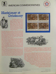 """PANEL #82 U.S. COMMEMORATIVE PANEL BATTLE OF ORISKANY, ISSUED 8/6/1977 SCOTT #1722 STAMPS. PANEL PRINTED ON HEAVY PAPER MEASURING 8 1/2"""" X 11 1/4"""" WITH 4, BATTLE OF ORISKANY, 13 CENT STAMPS PANELS ISSUED BY U.S. BUREAU OF ENGRAVING REPRESENT MANY HISTORICAL EVENTS IN OUR COUNTRY PLUS CULTURAL, WILDLIFE, FLORAL, MUSICAL, MOVIES AND COUNTLESS OTHER SUBJECTS, GREAT FOR COLLECTORS AND ENTHUSIAST OF A WIDE VARIETY OF INTEREST. GREAT TO FRAME FOR GIFTS! UP TO A DOZEN CAN BE SHIPPED USING PRIORITY MAIL FLAT RATE ENVELOPE, FOR THE PRICE OF ONE (REFUND GIVEN (IF APPLICABLE) AFTER PANELS ARE SHIPPED TAKES 3-4 DAYS FOR REFUND TO REACH YOUR CARD) OR YOU CAN SEND ONE OR MORE, FIRST CLASS (NOT INSURED) FOR LESS, YOUR CHOICE."""