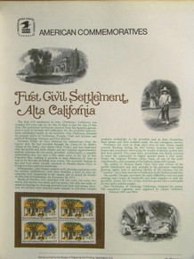 """PANEL #83 U.S. COMMEMORATIVE PANEL ALTA CALIFORNIA, FIRST CIVIL SETTLEMENT, ISSUED 9/9/1977 SCOTT #1725 STAMPS. PANEL PRINTED ON HEAVY PAPER MEASURING 8 1/2"""" X 11 1/4"""" WITH 4, ALTA CALIFORNIA, FIRST CIVIL SETTLEMEN, 13 CENT STAMPS PANELS ISSUED BY U.S. BUREAU OF ENGRAVING REPRESENT MANY HISTORICAL EVENTS IN OUR COUNTRY PLUS CULTURAL, WILDLIFE, FLORAL, MUSICAL, MOVIES AND COUNTLESS OTHER SUBJECTS, GREAT FOR COLLECTORS AND ENTHUSIAST OF A WIDE VARIETY OF INTEREST. GREAT TO FRAME FOR GIFTS! UP TO A DOZEN CAN BE SHIPPED USING PRIORITY MAIL FLAT RATE ENVELOPE, FOR THE PRICE OF ONE (REFUND GIVEN (IF APPLICABLE) AFTER PANELS ARE SHIPPED TAKES 3-4 DAYS FOR REFUND TO REACH YOUR CARD) OR YOU CAN SEND ONE OR MORE, FIRST CLASS (NOT INSURED) FOR LESS, YOUR CHOICE."""