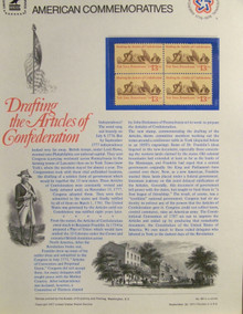 """PANEL #84 U.S. COMMEMORATIVE PANEL ARTICLES OF CONFEDERATION, ISSUED 9/30/1977 SCOTT #1726 STAMPS. PANEL PRINTED ON HEAVY PAPER MEASURING 8 1/2"""" X 11 1/4"""" WITH 4, ARTICLES OF CONFEDERATION, 13 CENT STAMPS PANELS ISSUED BY U.S. BUREAU OF ENGRAVING REPRESENT MANY HISTORICAL EVENTS IN OUR COUNTRY PLUS CULTURAL, WILDLIFE, FLORAL, MUSICAL, MOVIES AND COUNTLESS OTHER SUBJECTS, GREAT FOR COLLECTORS AND ENTHUSIAST OF A WIDE VARIETY OF INTEREST. GREAT TO FRAME FOR GIFTS! UP TO A DOZEN CAN BE SHIPPED USING PRIORITY MAIL FLAT RATE ENVELOPE, FOR THE PRICE OF ONE (REFUND GIVEN (IF APPLICABLE) AFTER PANELS ARE SHIPPED TAKES 3-4 DAYS FOR REFUND TO REACH YOUR CARD) OR YOU CAN SEND ONE OR MORE, FIRST CLASS (NOT INSURED) FOR LESS, YOUR CHOICE."""