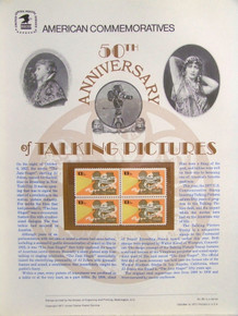 """PANEL #85 U.S. COMMEMORATIVE PANEL TALKING PICTURES, ISSUED 10/6/1977 SCOTT #1727 STAMPS. PANEL PRINTED ON HEAVY PAPER MEASURING 8 1/2"""" X 11 1/4"""" WITH 4, TALKING PICTURES, 13 CENT STAMPS PANELS ISSUED BY U.S. BUREAU OF ENGRAVING REPRESENT MANY HISTORICAL EVENTS IN OUR COUNTRY PLUS CULTURAL, WILDLIFE, FLORAL, MUSICAL, MOVIES AND COUNTLESS OTHER SUBJECTS, GREAT FOR COLLECTORS AND ENTHUSIAST OF A WIDE VARIETY OF INTEREST. GREAT TO FRAME FOR GIFTS! UP TO A DOZEN CAN BE SHIPPED USING PRIORITY MAIL FLAT RATE ENVELOPE, FOR THE PRICE OF ONE (REFUND GIVEN (IF APPLICABLE) AFTER PANELS ARE SHIPPED TAKES 3-4 DAYS FOR REFUND TO REACH YOUR CARD) OR YOU CAN SEND ONE OR MORE, FIRST CLASS (NOT INSURED) FOR LESS, YOUR CHOICE."""