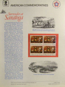 """PANEL #86 U.S. COMMEMORATIVE PANEL SURRENDER AT SARATOGA, ISSUED 10/7/1977 SCOTT #1728 STAMPS. PANEL PRINTED ON HEAVY PAPER MEASURING 8 1/2"""" X 11 1/4"""" WITH 4, SURRENDER AT SARATOGA, 13 CENT STAMPS PANELS ISSUED BY U.S. BUREAU OF ENGRAVING REPRESENT MANY HISTORICAL EVENTS IN OUR COUNTRY PLUS CULTURAL, WILDLIFE, FLORAL, MUSICAL, MOVIES AND COUNTLESS OTHER SUBJECTS, GREAT FOR COLLECTORS AND ENTHUSIAST OF A WIDE VARIETY OF INTEREST. GREAT TO FRAME FOR GIFTS! UP TO A DOZEN CAN BE SHIPPED USING PRIORITY MAIL FLAT RATE ENVELOPE, FOR THE PRICE OF ONE (REFUND GIVEN (IF APPLICABLE) AFTER PANELS ARE SHIPPED TAKES 3-4 DAYS FOR REFUND TO REACH YOUR CARD) OR YOU CAN SEND ONE OR MORE, FIRST CLASS (NOT INSURED) FOR LESS, YOUR CHOICE."""