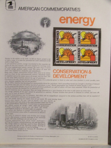 "PANEL #87 U.S. COMMEMORATIVE PANEL ENERGY, ISSUED 10/20/1977 SCOTT #1723a STAMPS. PANEL PRINTED ON HEAVY PAPER MEASURING 8 1/2"" X 11 1/4"" WITH 4, ENERGY, 13 CENT STAMPS PANELS ISSUED BY U.S. BUREAU OF ENGRAVING REPRESENT MANY HISTORICAL EVENTS IN OUR COUNTRY PLUS CULTURAL, WILDLIFE, FLORAL, MUSICAL, MOVIES AND COUNTLESS OTHER SUBJECTS, GREAT FOR COLLECTORS AND ENTHUSIAST OF A WIDE VARIETY OF INTEREST. GREAT TO FRAME FOR GIFTS! UP TO A DOZEN CAN BE SHIPPED USING PRIORITY MAIL FLAT RATE ENVELOPE, FOR THE PRICE OF ONE (REFUND GIVEN (IF APPLICABLE) AFTER PANELS ARE SHIPPED TAKES 3-4 DAYS FOR REFUND TO REACH YOUR CARD) OR YOU CAN SEND ONE OR MORE, FIRST CLASS (NOT INSURED) FOR LESS, YOUR CHOICE."