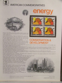 """PANEL #87 U.S. COMMEMORATIVE PANEL ENERGY, ISSUED 10/20/1977 SCOTT #1723a STAMPS. PANEL PRINTED ON HEAVY PAPER MEASURING 8 1/2"""" X 11 1/4"""" WITH 4, ENERGY, 13 CENT STAMPS PANELS ISSUED BY U.S. BUREAU OF ENGRAVING REPRESENT MANY HISTORICAL EVENTS IN OUR COUNTRY PLUS CULTURAL, WILDLIFE, FLORAL, MUSICAL, MOVIES AND COUNTLESS OTHER SUBJECTS, GREAT FOR COLLECTORS AND ENTHUSIAST OF A WIDE VARIETY OF INTEREST. GREAT TO FRAME FOR GIFTS! UP TO A DOZEN CAN BE SHIPPED USING PRIORITY MAIL FLAT RATE ENVELOPE, FOR THE PRICE OF ONE (REFUND GIVEN (IF APPLICABLE) AFTER PANELS ARE SHIPPED TAKES 3-4 DAYS FOR REFUND TO REACH YOUR CARD) OR YOU CAN SEND ONE OR MORE, FIRST CLASS (NOT INSURED) FOR LESS, YOUR CHOICE."""