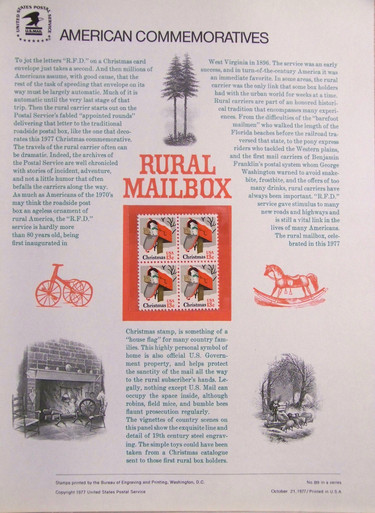 "PANEL #89 U.S. COMMEMORATIVE PANEL CHRISTMAS MAILBOX , ISSUED 10/21/1977 SCOTT #1730 STAMPS. PANEL PRINTED ON HEAVY PAPER MEASURING 8 1/2"" X 11 1/4"" WITH 4, CHRISTMAS MAILBOX , 13 CENT STAMPS PANELS ISSUED BY U.S. BUREAU OF ENGRAVING REPRESENT MANY HISTORICAL EVENTS IN OUR COUNTRY PLUS CULTURAL, WILDLIFE, FLORAL, MUSICAL, MOVIES AND COUNTLESS OTHER SUBJECTS, GREAT FOR COLLECTORS AND ENTHUSIAST OF A WIDE VARIETY OF INTEREST. GREAT TO FRAME FOR GIFTS! UP TO A DOZEN CAN BE SHIPPED USING PRIORITY MAIL FLAT RATE ENVELOPE, FOR THE PRICE OF ONE (REFUND GIVEN (IF APPLICABLE) AFTER PANELS ARE SHIPPED TAKES 3-4 DAYS FOR REFUND TO REACH YOUR CARD) OR YOU CAN SEND ONE OR MORE, FIRST CLASS (NOT INSURED) FOR LESS, YOUR CHOICE."