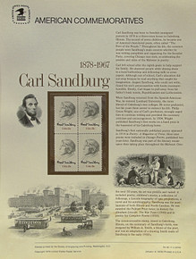 "PANEL #90 U.S. COMMEMORATIVE PANEL, CARL SANDBURG, ISSUED 1/6/1978 SCOTT #1731 STAMPS. PANEL PRINTED ON HEAVY PAPER MEASURING 8 1/2"" X 11 1/4"" WITH 4, CARL SANDBURG, 13 CENT STAMPS PANELS ISSUED BY U.S. BUREAU OF ENGRAVING REPRESENT MANY HISTORICAL EVENTS IN OUR COUNTRY PLUS CULTURAL, WILDLIFE, FLORAL, MUSICAL, MOVIES AND COUNTLESS OTHER SUBJECTS, GREAT FOR COLLECTORS AND ENTHUSIAST OF A WIDE VARIETY OF INTEREST. GREAT TO FRAME FOR GIFTS! UP TO A DOZEN CAN BE SHIPPED USING PRIORITY MAIL FLAT RATE ENVELOPE, FOR THE PRICE OF ONE (REFUND GIVEN (IF APPLICABLE) AFTER PANELS ARE SHIPPED TAKES 3-4 DAYS FOR REFUND TO REACH YOUR CARD) OR YOU CAN SEND ONE OR MORE, FIRST CLASS (NOT INSURED) FOR LESS, YOUR CHOICE."
