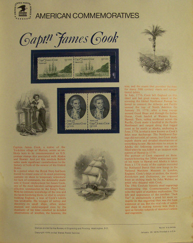 """PANEL #91 U.S. COMMEMORATIVE PANEL, CAPT. JAMES COOK, ISSUED 1/20/1978 SCOTT #1732a STAMPS. PANEL PRINTED ON HEAVY PAPER MEASURING 8 1/2"""" X 11 1/4"""" WITH 4, CAPT. JAMES COOK, 13 CENT STAMPS PANELS ISSUED BY U.S. BUREAU OF ENGRAVING REPRESENT MANY HISTORICAL EVENTS IN OUR COUNTRY PLUS CULTURAL, WILDLIFE, FLORAL, MUSICAL, MOVIES AND COUNTLESS OTHER SUBJECTS, GREAT FOR COLLECTORS AND ENTHUSIAST OF A WIDE VARIETY OF INTEREST. GREAT TO FRAME FOR GIFTS! UP TO A DOZEN CAN BE SHIPPED USING PRIORITY MAIL FLAT RATE ENVELOPE, FOR THE PRICE OF ONE (REFUND GIVEN (IF APPLICABLE) AFTER PANELS ARE SHIPPED TAKES 3-4 DAYS FOR REFUND TO REACH YOUR CARD) OR YOU CAN SEND ONE OR MORE, FIRST CLASS (NOT INSURED) FOR LESS, YOUR CHOICE."""