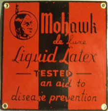 """MOHAWK LIQUID LATEX AID TO DISEASE PREVENTION VINTAGE PORCELAIN SIGN  MEASURES 7"""" X 7""""  WITH HOLES IN EACH CORNER FOR EASY MOUNTING"""