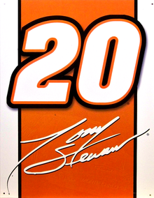 """TONY STEWART 20 VINTAGE SIGN MEASURES 12 1/2"""" X 16""""  WITH HOLES IN EACH CORNER FOR EASY MOUNTING  THIS SIGN IS OUT OF PRODUCTION, WE HAVE ONLY ONE LEFT"""
