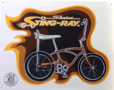 """SCHWINN STING RAY VINTAGE SIGN MEASURES 16"""" X 12 1/2""""   WITH HOLES IN EACH CORNER FOR EASY MOUNTING  THIS SIGN IS OUT OF PRODUCTION, WE HAVE ONLY ONE LEFT"""