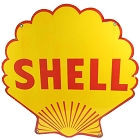 "SHELL SHAPED GAS SIGN MEASURES 12"" X 12"" WITH HOLES FOR EASY MOUNTING"