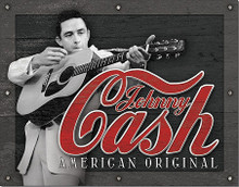 """JOHNNY CASH TIN SIGN MEASURES 16"""" X 12 1/2""""  WITH HOLES IN EACH CORNER FOR EASY MOUNTING"""