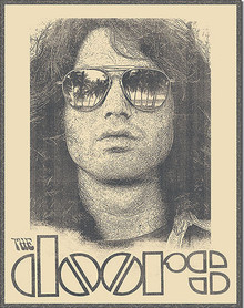 """JIM MORRISON TIN SIGN MEASURES 12 1/2""""  X 16"""" WITH HOLES IN EACH CORNER FOR EASY MOUNTING"""