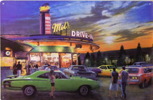 """Mel's Drive In sign measures  18"""" x 12""""  with holes for easy mounting"""