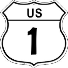 """METAL U.S. ROUTE 1 SHIELD SHAPED SIGN WITH HOLES FOR EASY MOUNTING MEASURES 12"""" X 12"""""""
