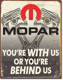 MOPAR BEHIND US VINTAGE TIN SIGN