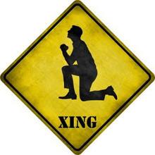 MAN PRAYING DIAMOND SHAPED  RUSTIC FLAT ALUMINUM XING SIGN  S/O*