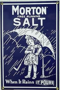 MORTON SALT 1914 PORCELAIN SIGN