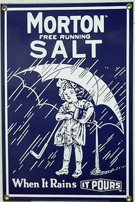 "MORTON SALT 1914 PORCELAIN SIGN MEASURES 6.5"" X 9.5"""