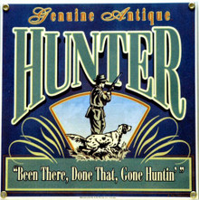 Photo of ANTIQUE HUNTER PORCELAIN SIGN, WITH RICH COLOR FOR THAT OLD HUNTER IN YOUR LIFE